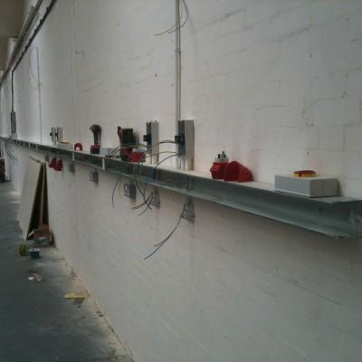 Electrical sockets installation in progress
