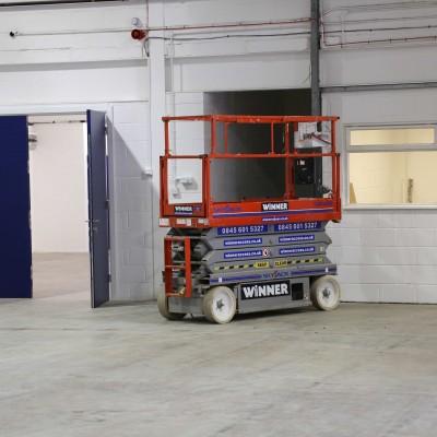Access equipment inside warehouse